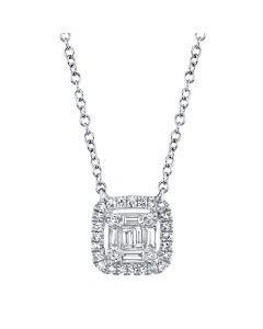 14K 0.22CT White Gold Diamond Baguette Necklace