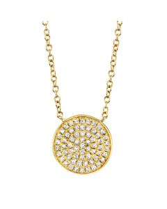 0.15Ct 14K Yellow /Gold Diamond Pave Necklace