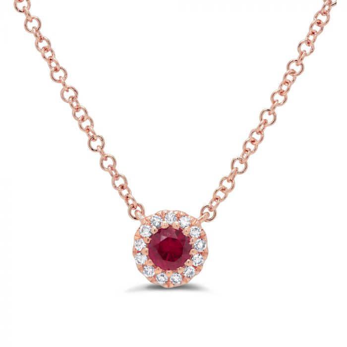 14K R/G 0.04CT Doamond Necklace