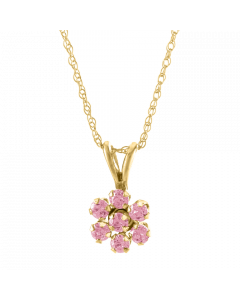 14K Gold Kiddie Kraft Childrens Pink CZ Pendant