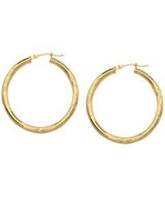 14kt Yellow Gold Diamond Cut Florentine Round Hoop Earrings