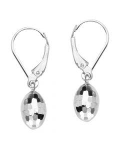 14K White Gold Diamond Cut Post Dangle Egg Shaped Earrings