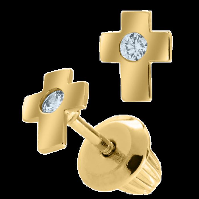 14K Gold Kiddie Kraft Childrens CZ Cross Stud Earrings