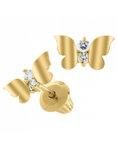 14K Gold Kiddie Kraft Childrens Butterfly Stud Earrings