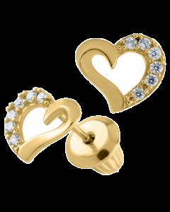 14K Gold Kiddie Kraft Childrens Open Heart CZ Stud Earrings