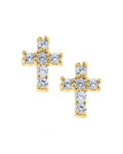 14K Gold Kiddie Kraft Childrens Cross CZ Stud Earrings