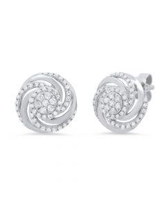 14K White Gold .33Ct Diamond Earrings