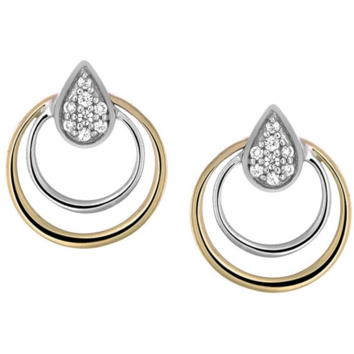 14K Two Tone Diamond Stud Earrings