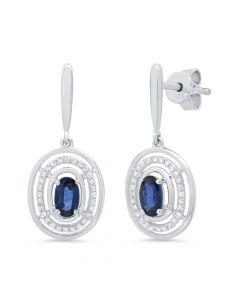 14K .14 Ct White Gold Sapphire Earrings