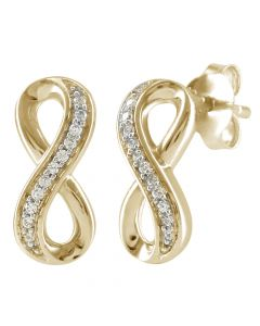 14K Yellow Gold .05Ct Two Diamond Earrings