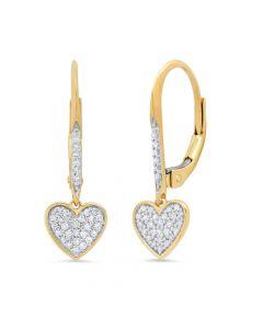 14K Yellow Gold .15Ct Diamond Heart Earrings