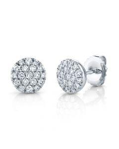 14K 0.48CT White Gold Diamond Pave Circle Stud Earring