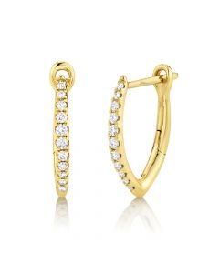 14K 0.15CT Yellow Gold Diamond Hoop Earring