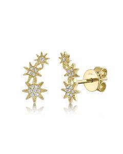 14K 0.06CT Yellow Gold Diamond Star Stud Earring