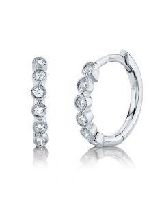 14K 0.11CT White Gold Diamond Huggie Earring