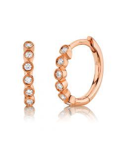14K 0.11CT Rose Gold Diamond Huggie Earring