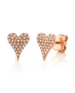 14K 0.14CT Rose Gold Diamond Pave Heart Stud Earring