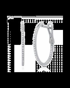 14k 0.21ct White Gold Diamond Hoop Earring