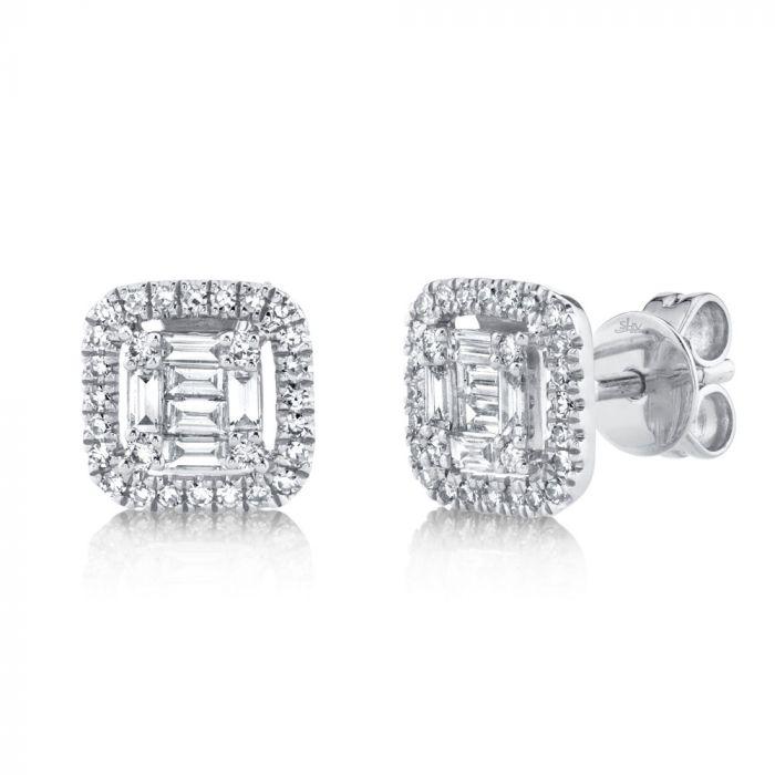 14K 0.43CT White Gold Diamond Baguette Stud Earring
