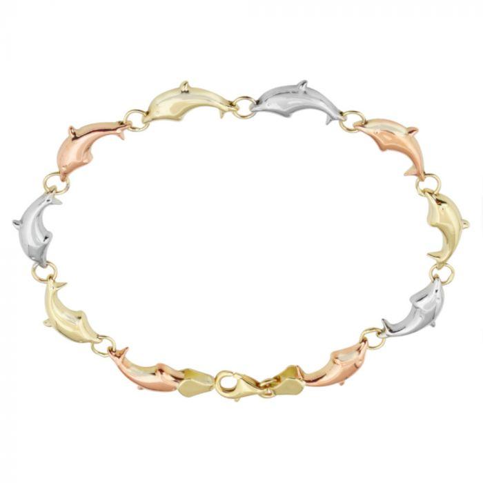 14K Tri-Color Dolphin Estampato Bracelet