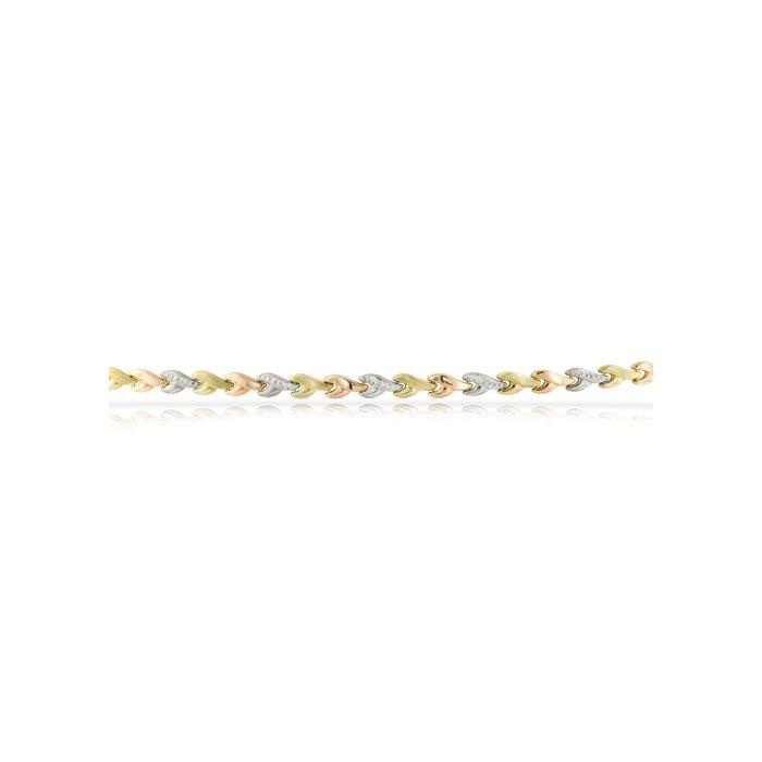 14K 3 Tone Leaf Bracelet