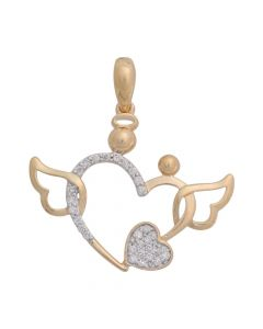 14K Yellow Gold .11Ct Two Diamond Hearts with Wings Pendant