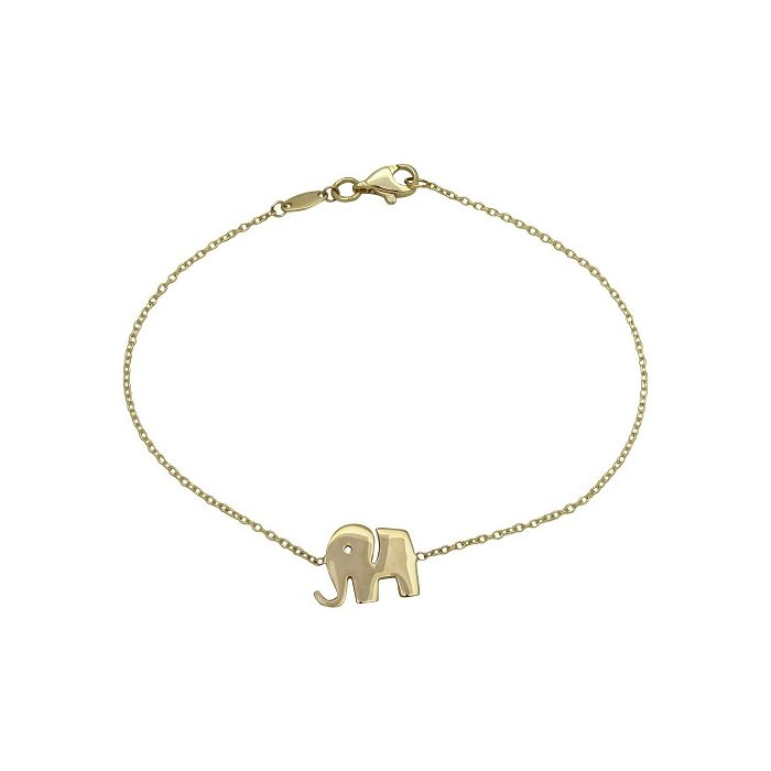 Women's 14-Karat Yellow Gold 7.25-inch High-Polish Elephant Bracelet - Gold