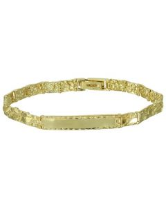 Men's 14-Karat Yellow Gold 8.5-inch Nugget Identification Bracelet - Gold