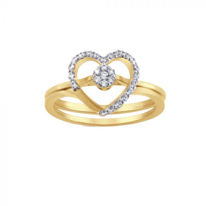 14K Yellow Gold 0.21cttw Diamond Heart Ring