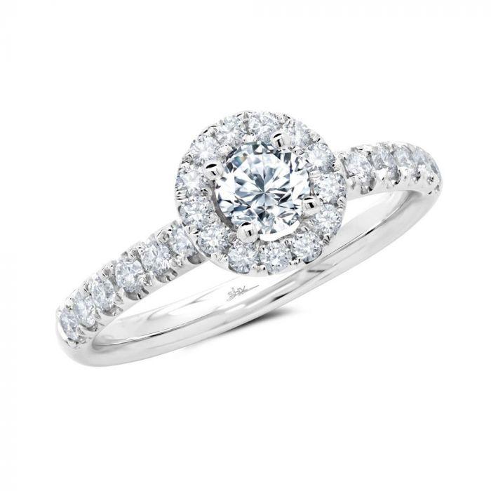 14K White Gold 0.85CT Diamond Engagement Ring