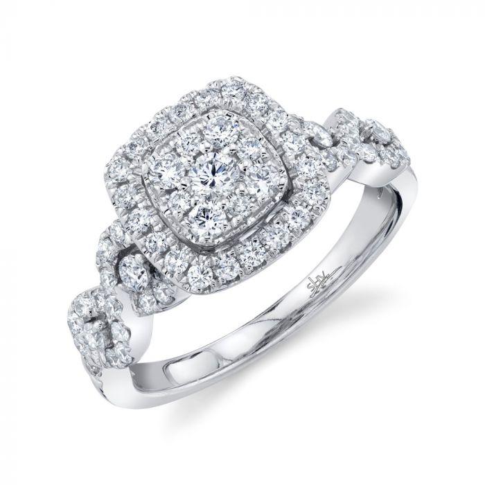 14K 0.83CT White Gold Diamond Cluster Engagement Ring