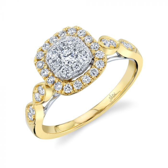 14K2T 0.53CT Yellow Gold Diamond Cluster Engagement Ring