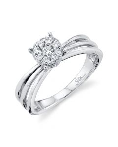 14K 0.26CT White Gold Diamond Cluster Engagement Ring