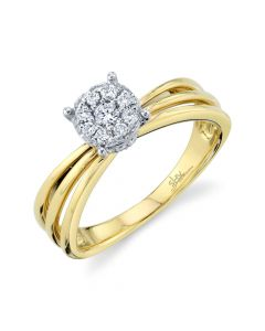14K 0.26CT Yellow Gold Diamond Cluster Engagement Ring