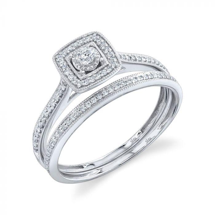 14K 0.23CT White Gold Diamond Wedding Set Round