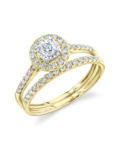 14K 0.48CT Yellow Gold Diamond Wedding Set Round
