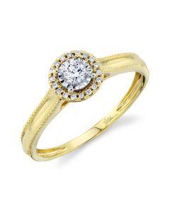14K 0.14CT Yellow Gold Round Diamond Engagement Ring