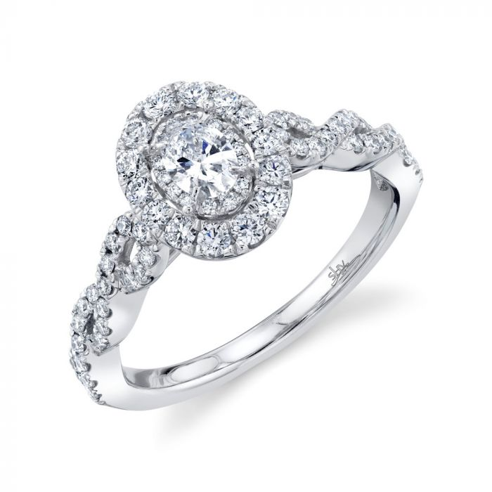 14K 0.87CT White Gold Oval Diamond Engagement Ring