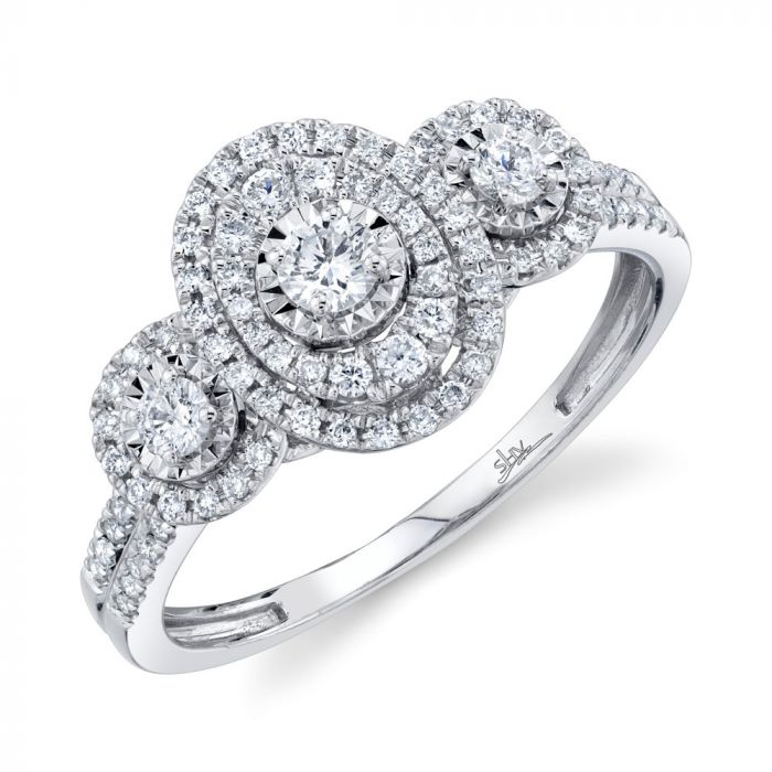 14K 0.46CT White Gold Round Diamond Engagement Ring