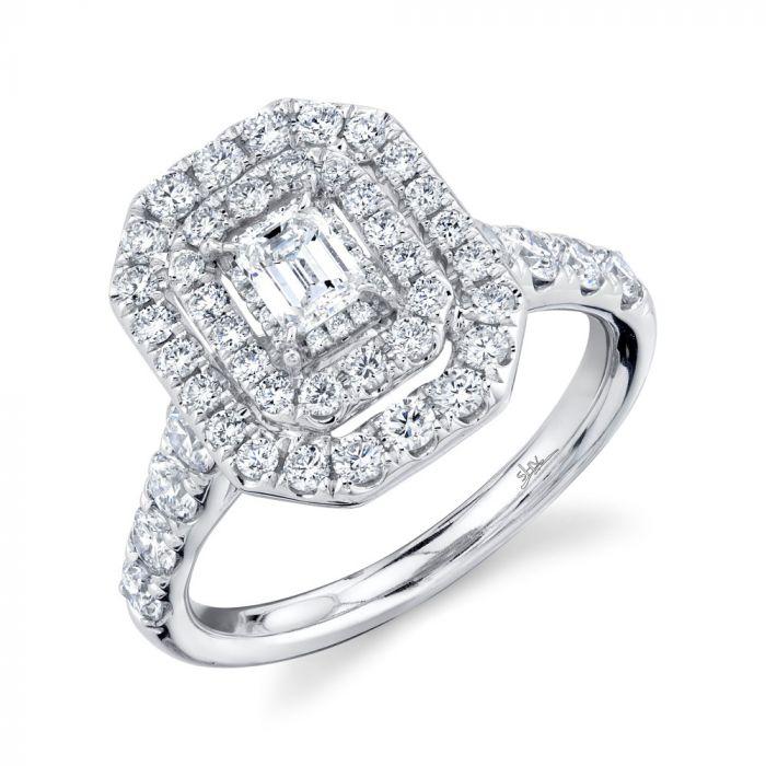 14K 1.50CT White Gold Emerald Diamond Engagement Ring