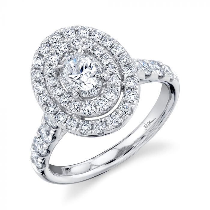 14K 1.50CT White Gold Oval Diamond Engagement Ring