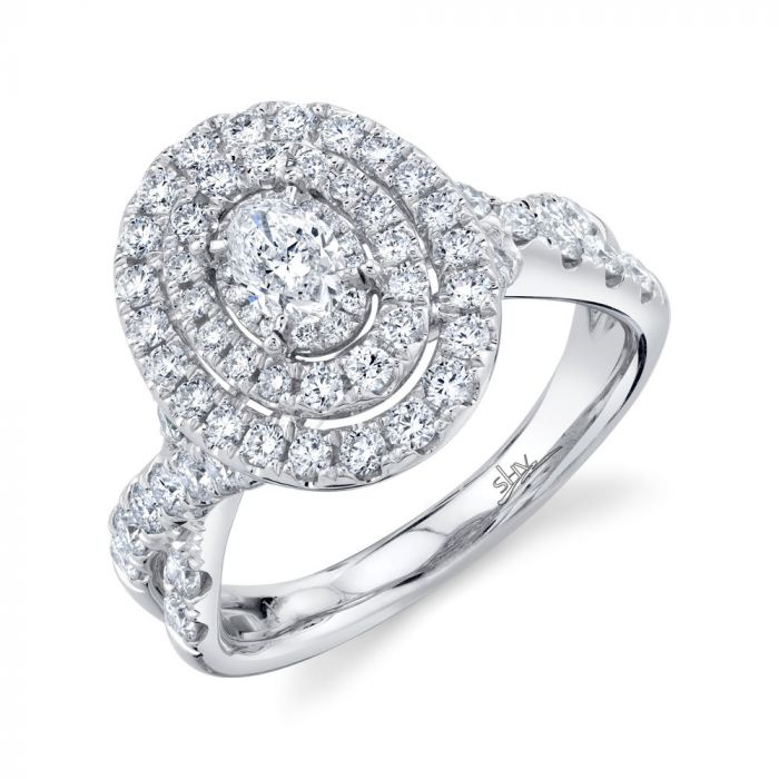 1.50CT 14K White Gold Oval Diamond Engagement Ring