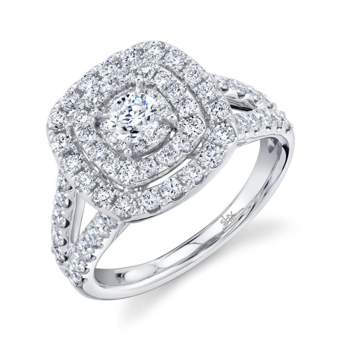 14K 1.5CT Round Diamond Engagement Ring White Gold