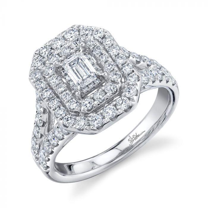 14K 1.5CT White Gold Emerald Diamond Engagement Ring