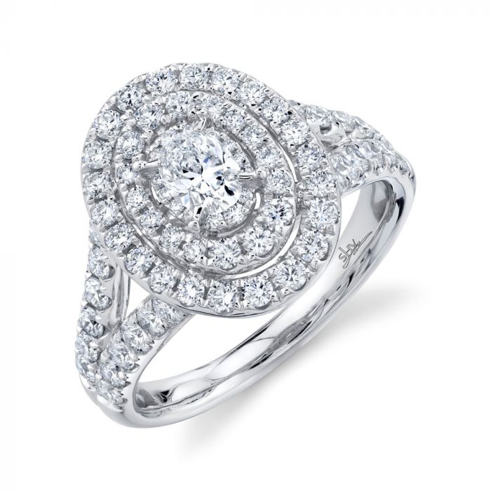 14K 1.5CT White Gold Oval Diamond Engagement Ring
