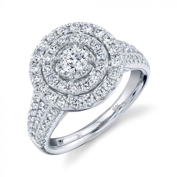 14K 1.5CT White Gold Round Diamond Engagement Ring