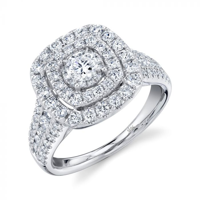 1.5CT 14K White Gold Round Diamond Engagement Ring