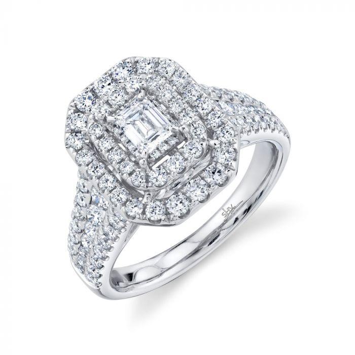 14K 1.5CT Emerald Diamond Engagement Ring White Gold
