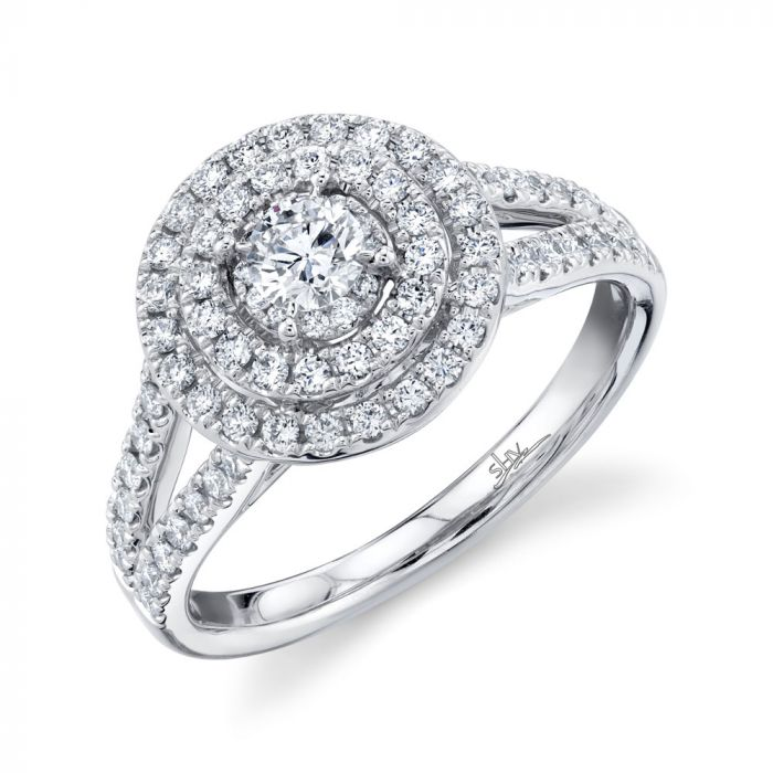 14K .75CT Round Diamond Engagement Ring White Gold
