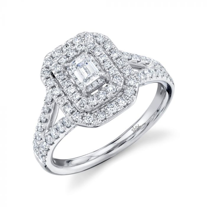14K White Gold Emerald Diamond Engagement Ring .75CT
